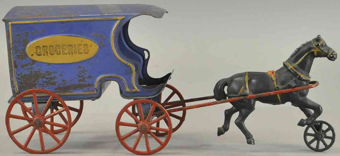 wilkins spielzeug gusseisen lebensmittel-lieferwagen blau ein schwarzes pferd