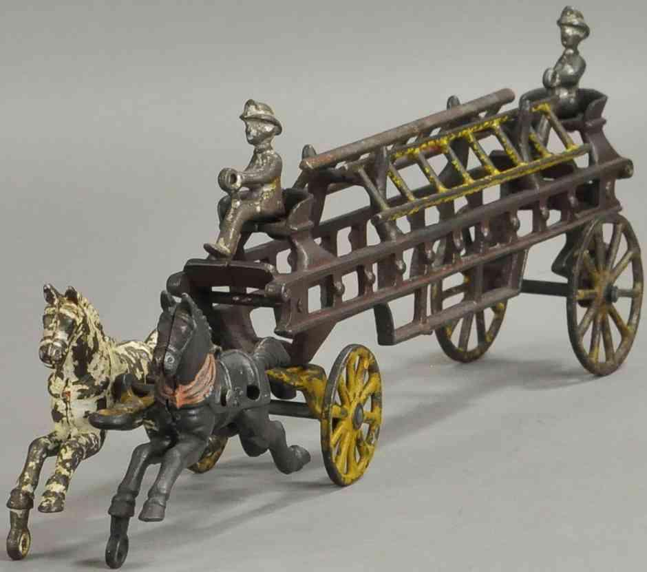 wilkins fire spielzeug gusseisen feuerwehrleiterwagen zwei pferde