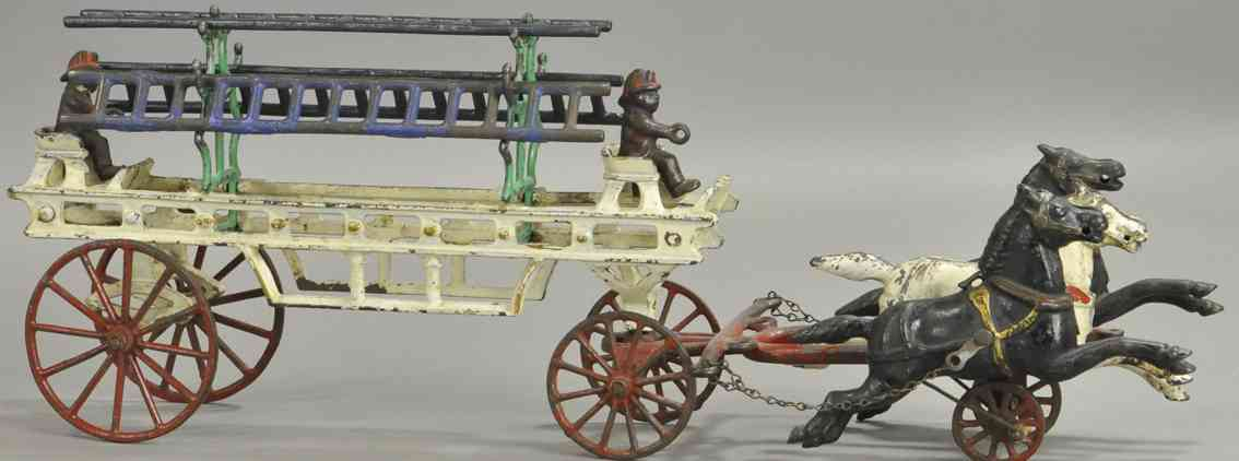 wilkins spielzeug gusseisen leiterwagen drei pferde zwei ives figuren