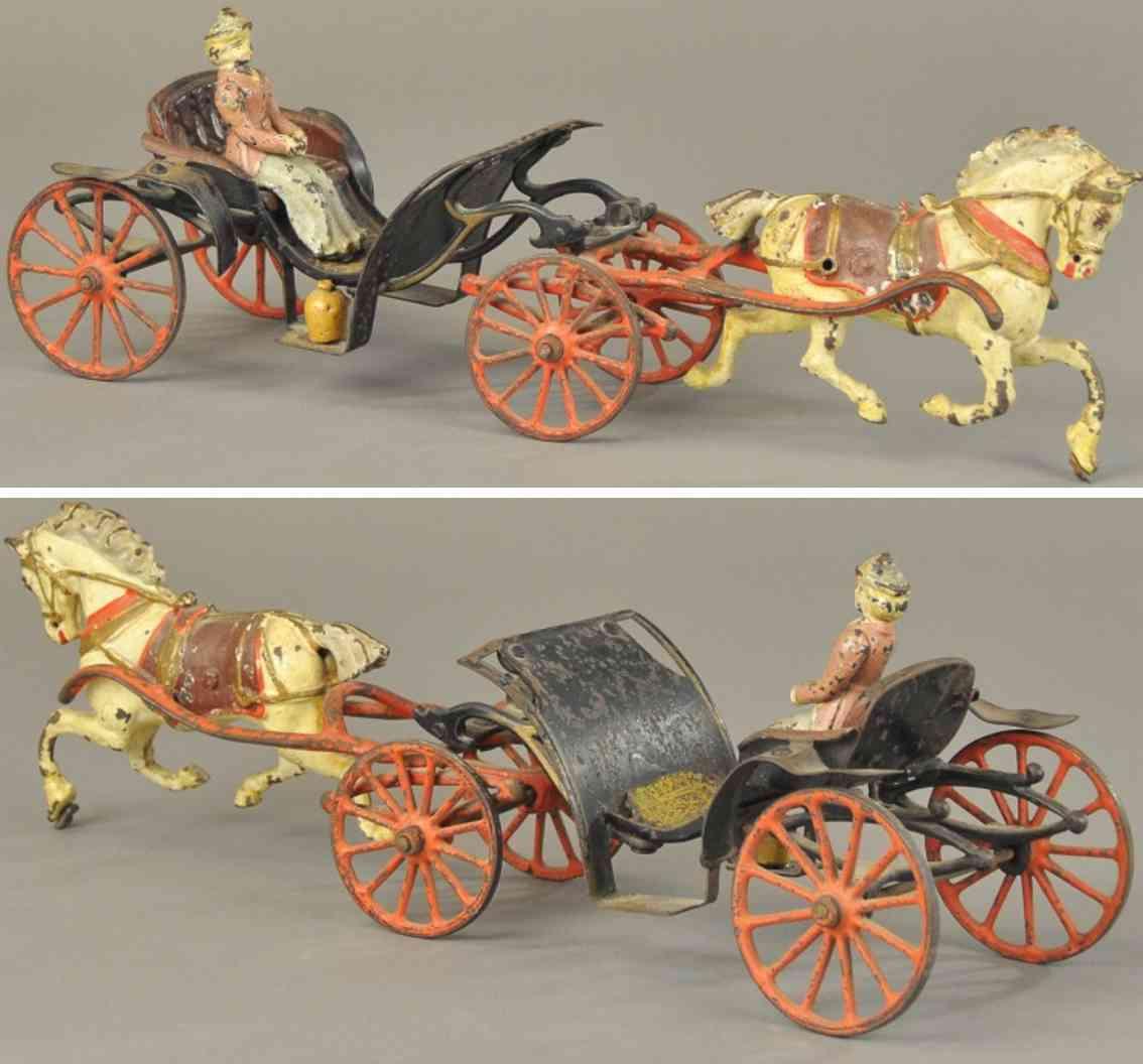 wilkins Phaeton 1 horse 16,5 spielzeug gusseisen offener phaeton  gezogen von einem schimmel, alte schwarze k
