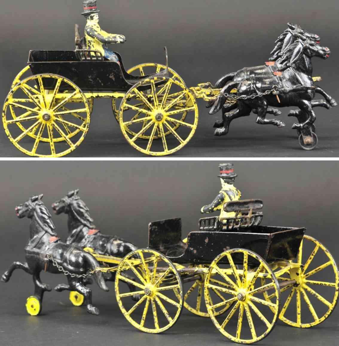 wilkins spielzeug gusseisen sthalblech surrey einsitzige kutsche zwei pferde