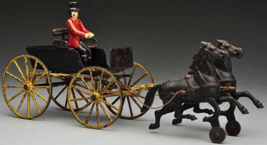 wilkins surrey spielzeug gusseisen zwei schwarze pferde