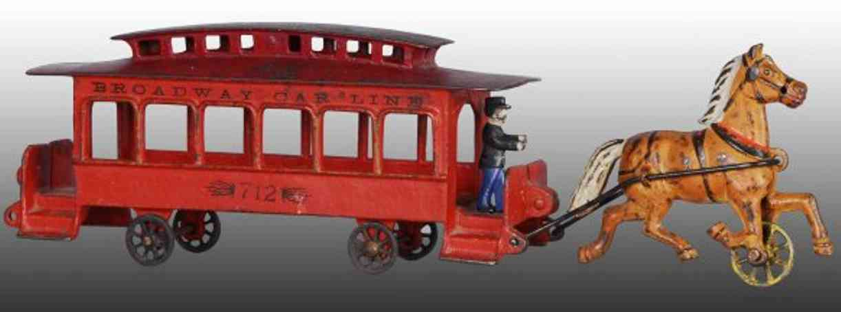 wilkins 712 cast iron toy broadway trolley red one horse-drawn