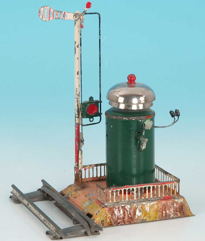 issmayer railway toy warning bell ringing mechanism with clockwork, hand-coated, with applied