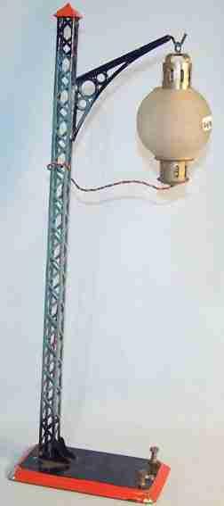 bing 13952 spielzeug eisenbahn einarmige gittermastlampe glaskandelaber