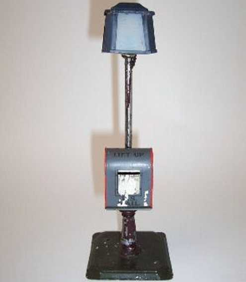 bing spielzeug eisenbahn amerikanische strassenlampe mit us mail-briefkasten