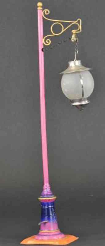 bing spielzeug eisenbahn strassenlaterne  rosa blau