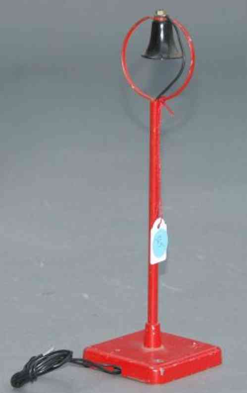 hag 720 railway toy lamp lamp in red on square cast base