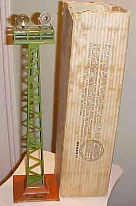 ives 1902 spielzeug eisenbahn zwei flulichter gruener turm erdfarbener sockel