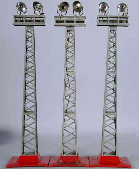 lionel 92/3 railway toy floodlight tower light red gray