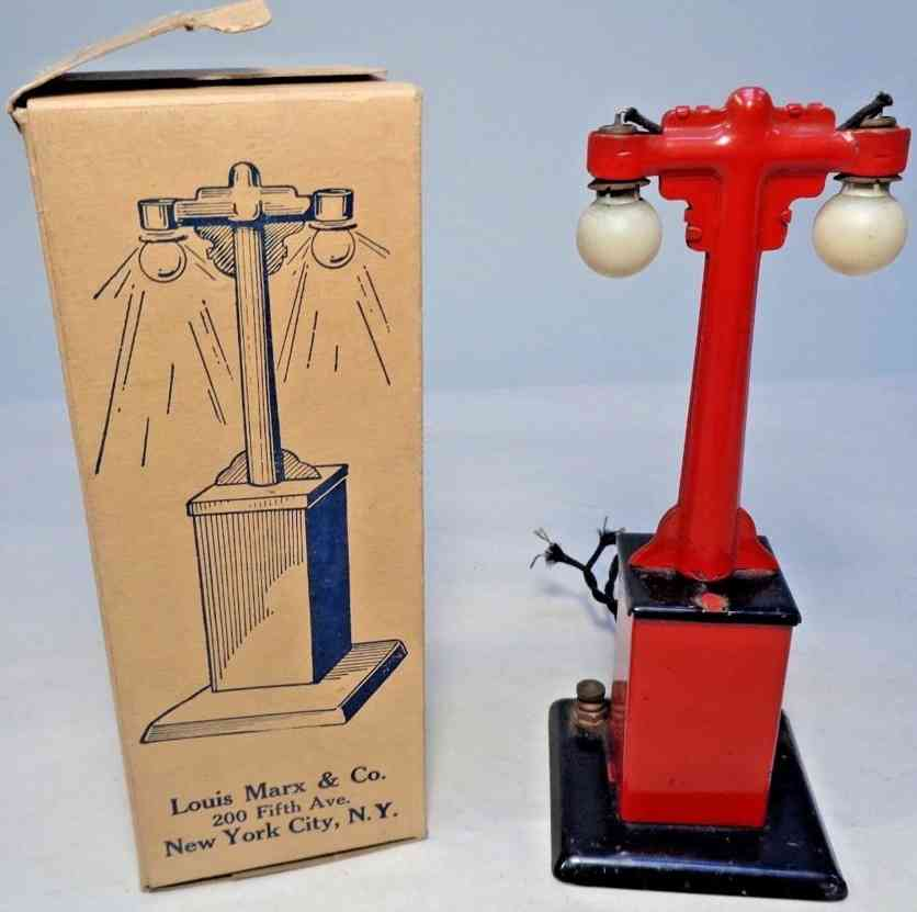 marx louis 408 railway toy metal double lamp post black red gauge 0