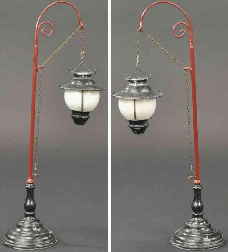 schoenner jean railway toy arc lamp red pole cast iron black base