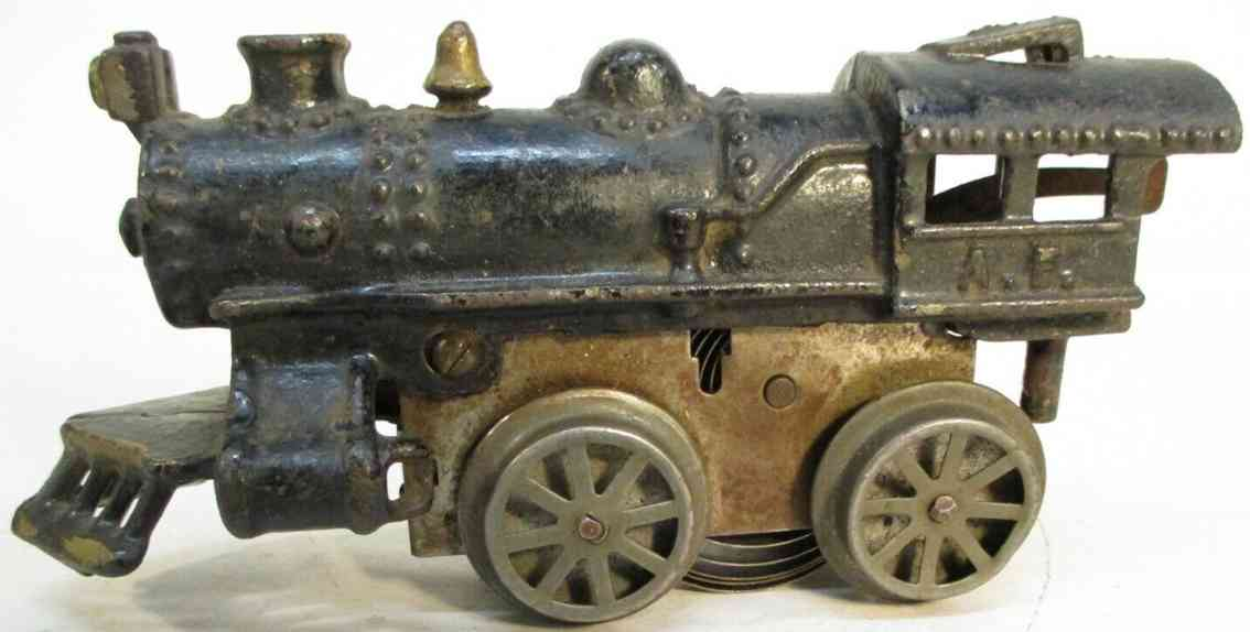 american flyer toy company 1 railway toy engine clockwork locomotive #1, made of cast iron. looks like a no.