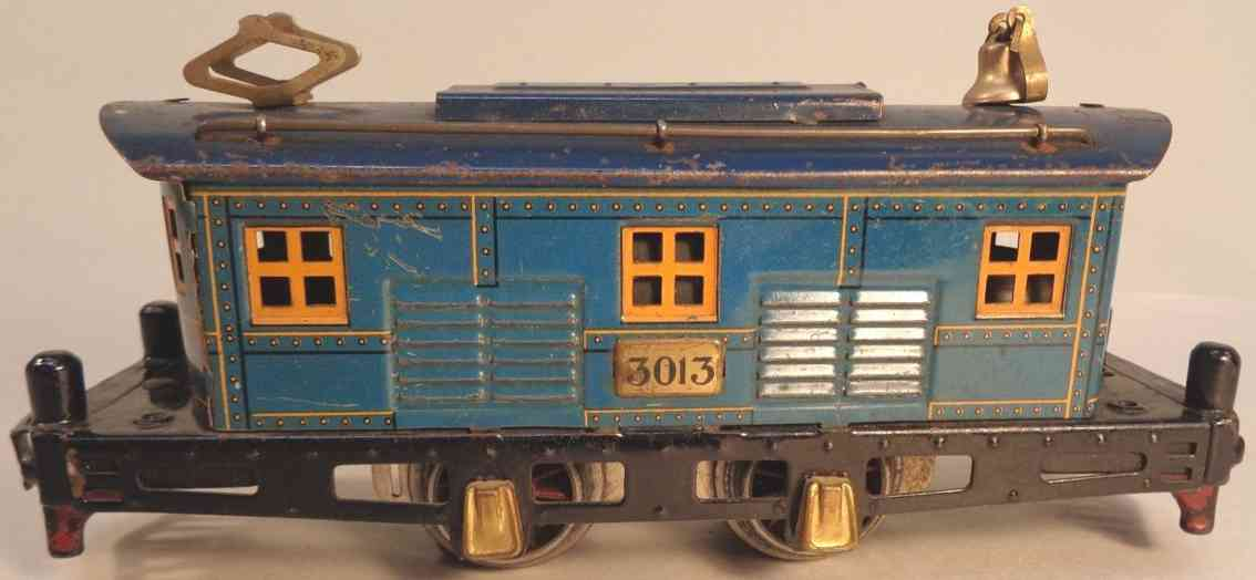 american flyer toy company 3013 railway toy engine electric locomotive blue guage 0