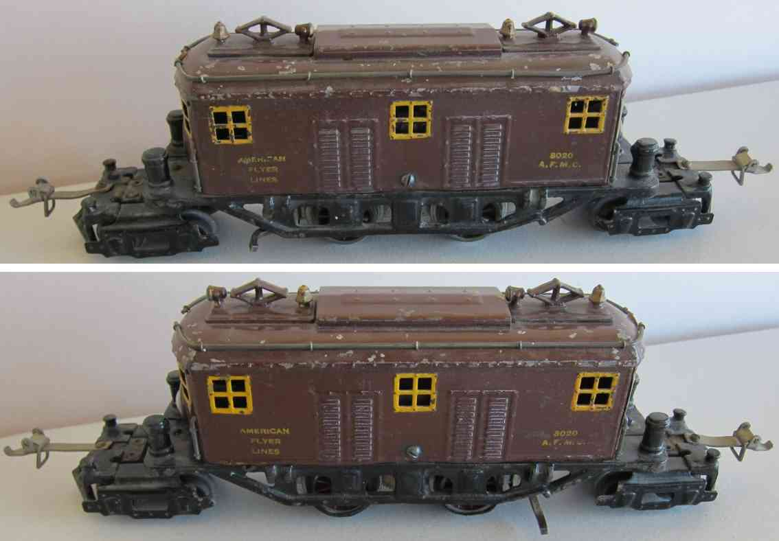 american flyer 3020 railway toy engine heavy electric locootive browngauge 0