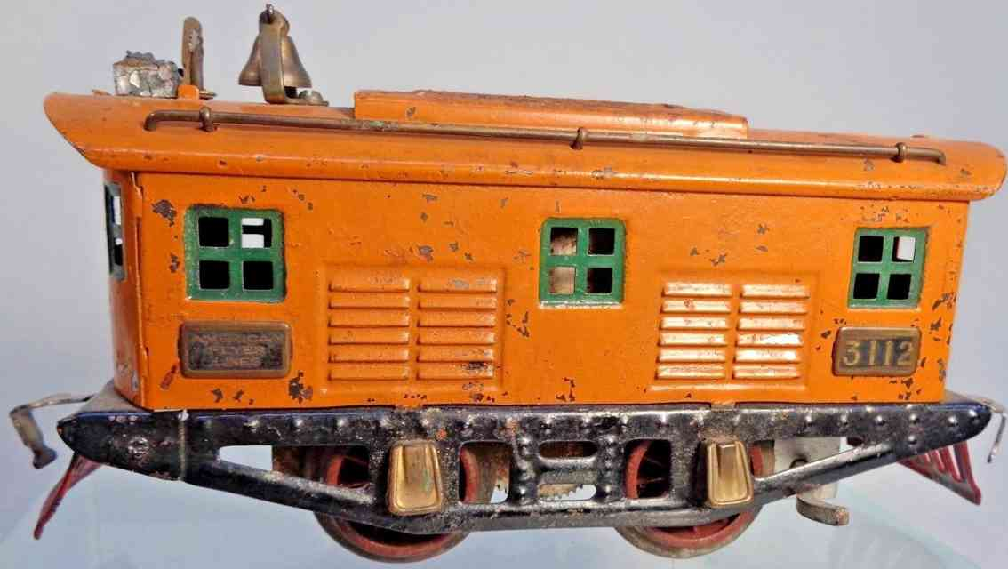 american flyer toy company 3122 railway toy engine electric locomotive orange gauge 0