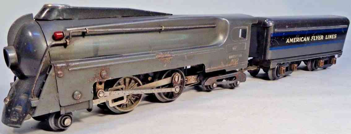 american flyer toy company 419 toy engine dreyfus locomotive gunmetal gray gauge 0