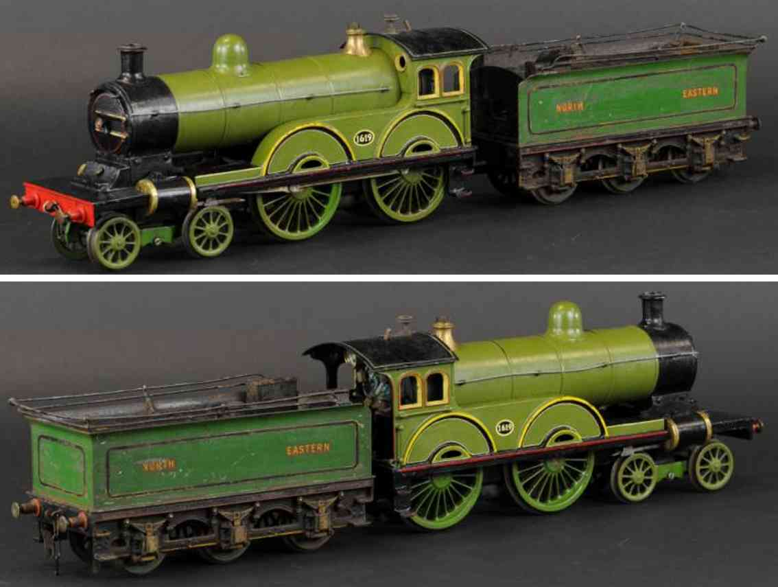 bassett-lowke 1619 dampflokomotive tender  north eastern gruen  spur 2 1/2