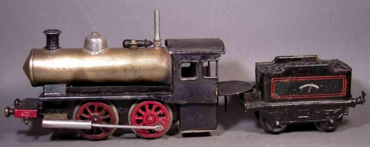 Bing 11/21/0 Spiritus-Dampflokomotive mit Tender