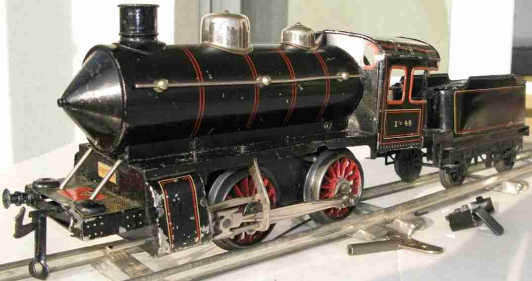 bing 11/418 spielzeug eisenbahn uhrwerk-dampflokomotive schwarz spur 1