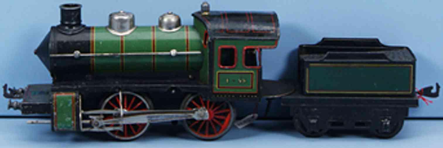 bing 11/418 spielzeug eisenbahn uhrwerk-dampflokomotive gruen schwarz spur 1