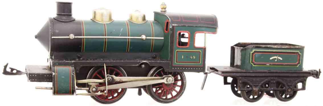 bing 11/419 railway toy engine clockwork locomotive green black gauge 1