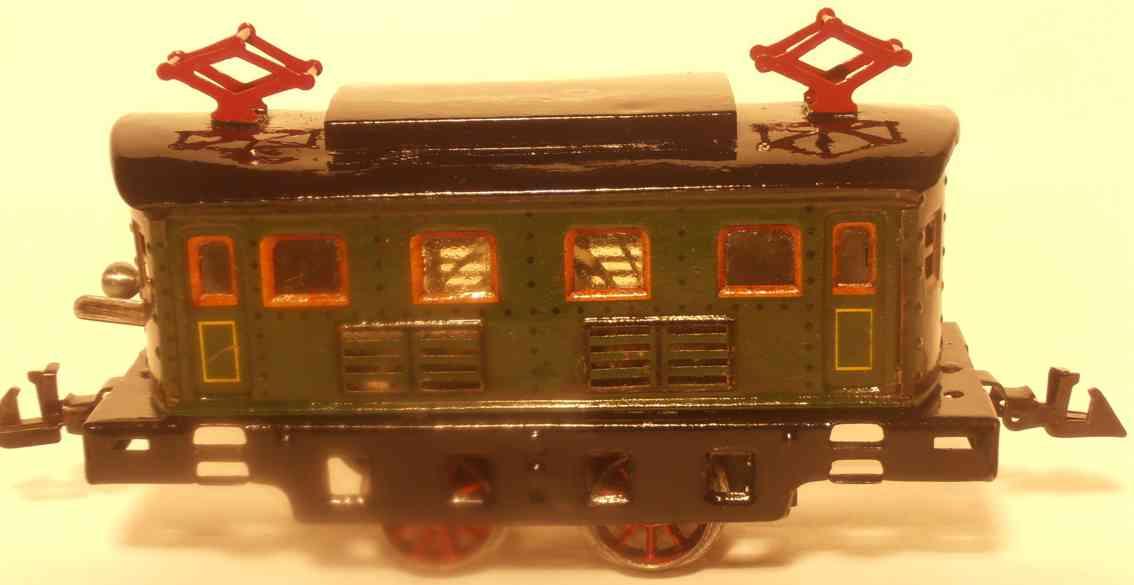 bing 11/4221 spielzeug eisenbahn lokomotive triebwagen mit uhrwerk lithografiert in grün mit schwarzem d