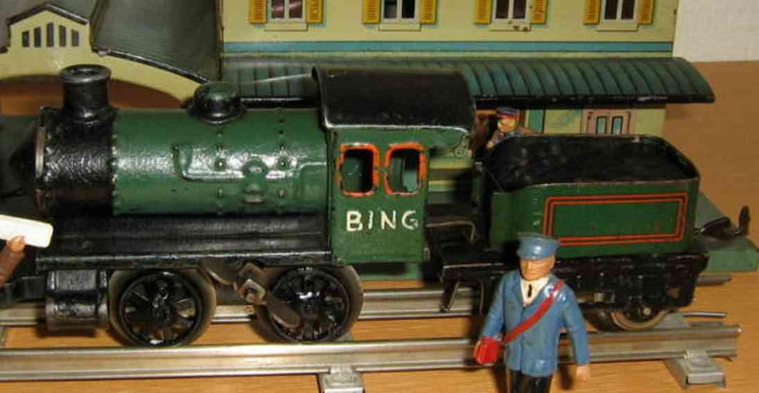 bing 11/430/0 spielzeug eisenbahn uhrwerk-lokomotive gruen spur 0