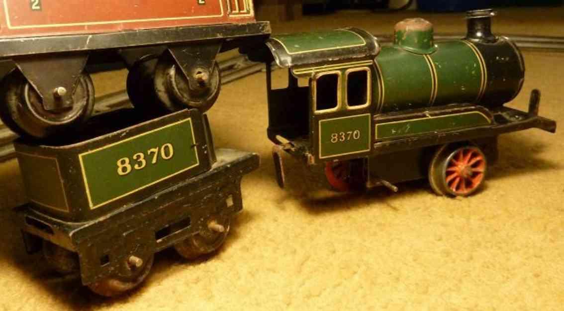 bing 11/460 spielzeug eisenbahn lokomotive uhrwerk-dampflokomotive grün/schwarz chromlitografiert, vor-