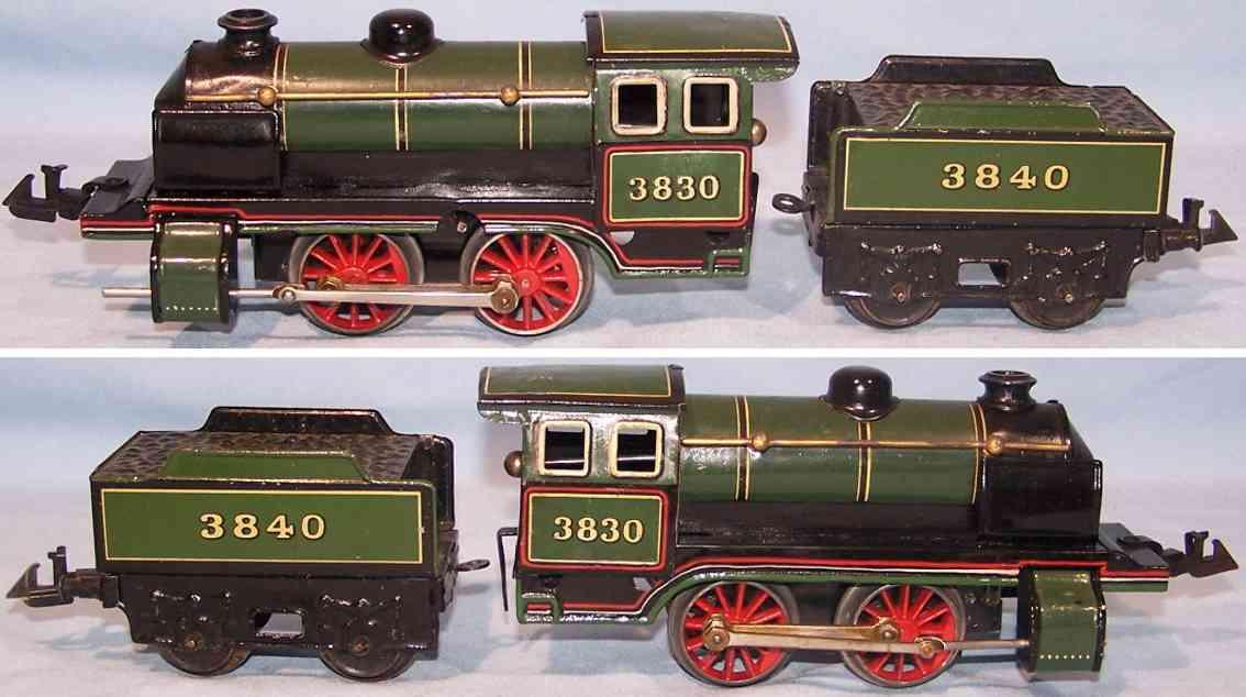 bing 11/483 spielzeug eisenbahn uhrwerk-dampflokomotive 3830 tender 3840 spur 0