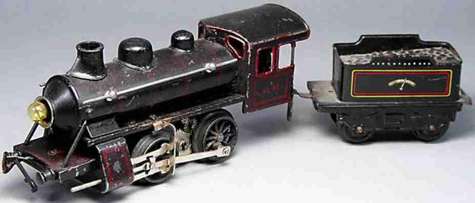bing 11/62 spielzeug eisenbahn schwachstrom-dampflokomotive schwarz spur 0