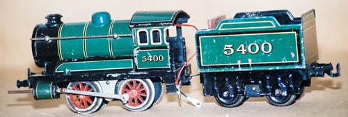 bing 11/640 spielzeug eisenbahn schwachstrom-dampflokomotive gruen spur 0