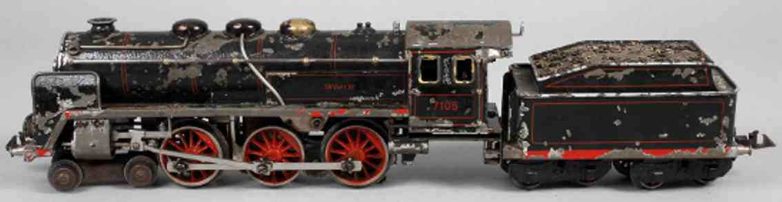 bing 11/8105 railway toy engine 18 volt steam locomotive 7105 spur 0