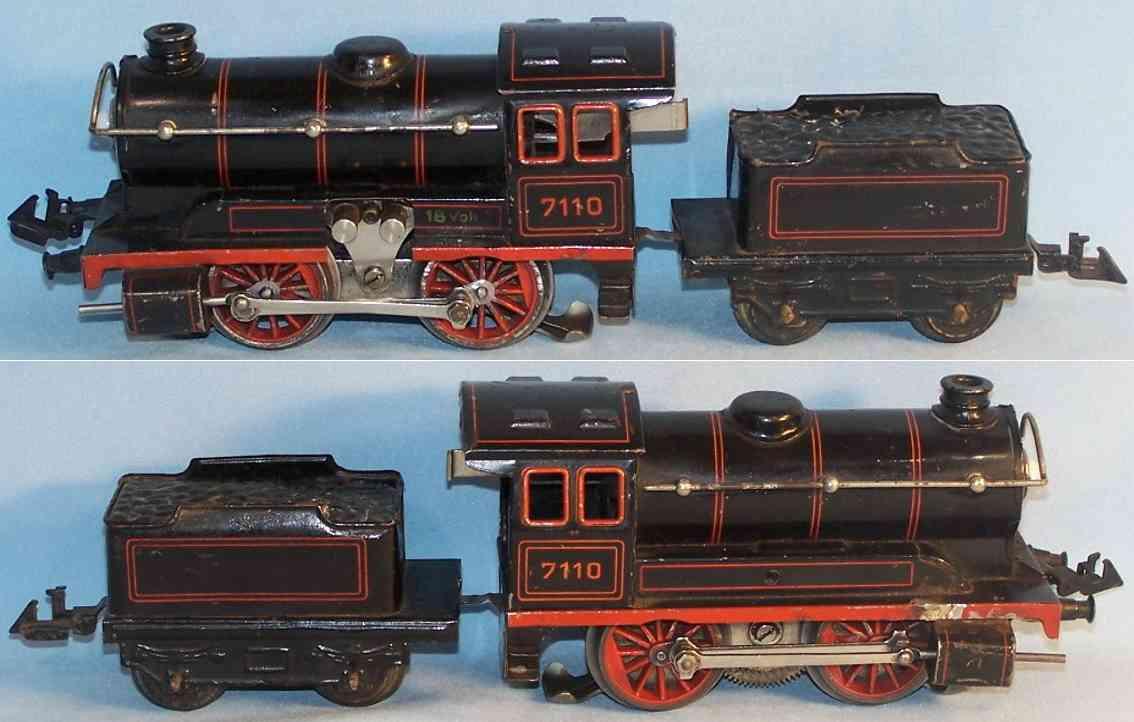 bing 11/8110 spielzeug eisenbahn lokomotive 18 volt dampflokomotive mit tender; lithografiert in schwarz