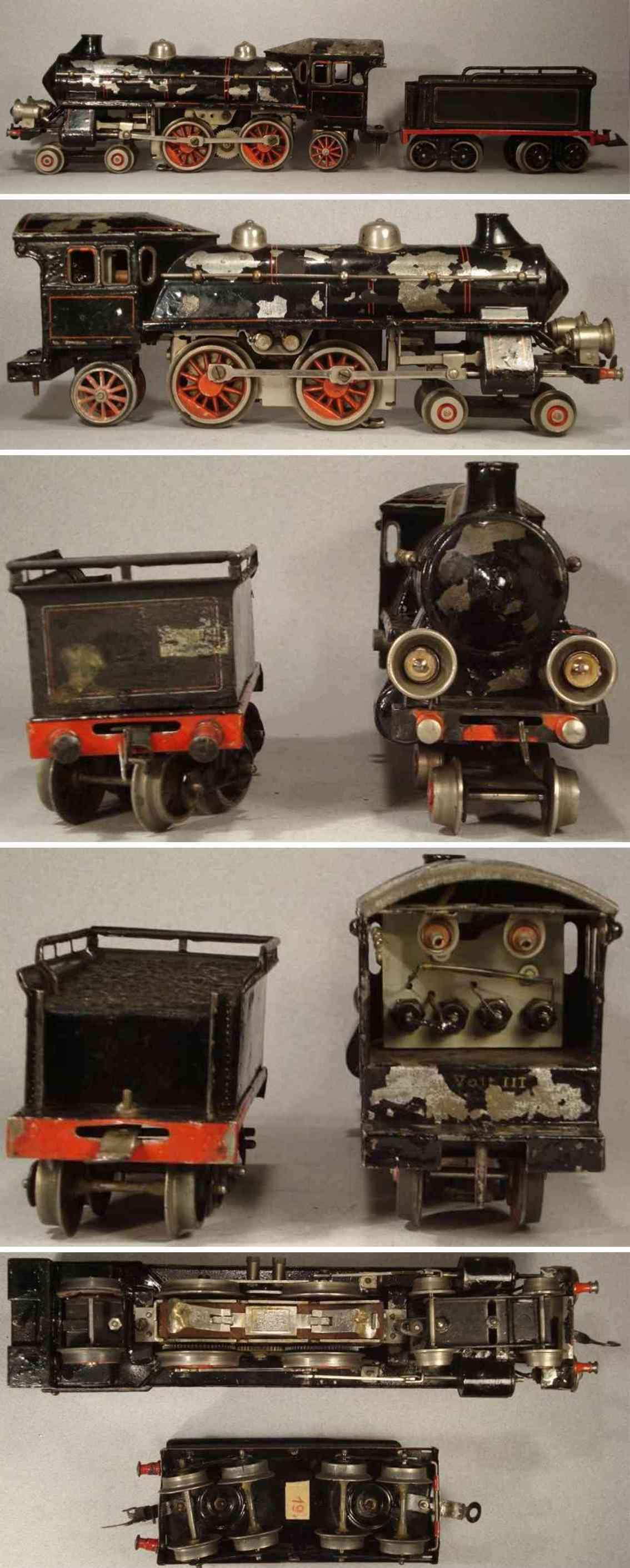 bing 11/8669 oder 11/887/0 spielzeug eisenbahn lokomotive starkstromdampflokomotive 2 b1 mit 4-achsigem tender, schwar