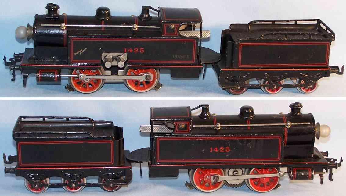 Bing 11/884 18 Volt Dampflokomotive mit Schlepptender in schwarz