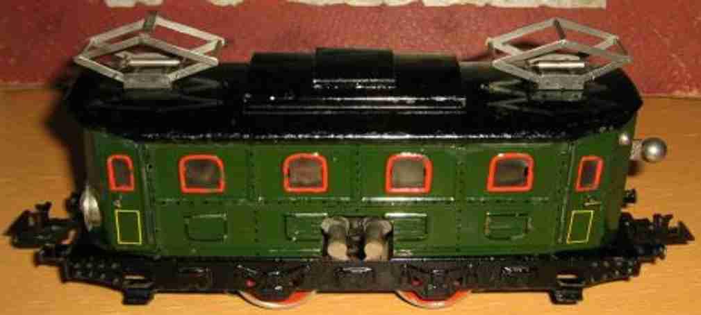 bing 11/892/0 spielzeug eisenbahn lokomotive triebwagen / elektrolokomotive 18 volt; 2-achsig; grün lacki