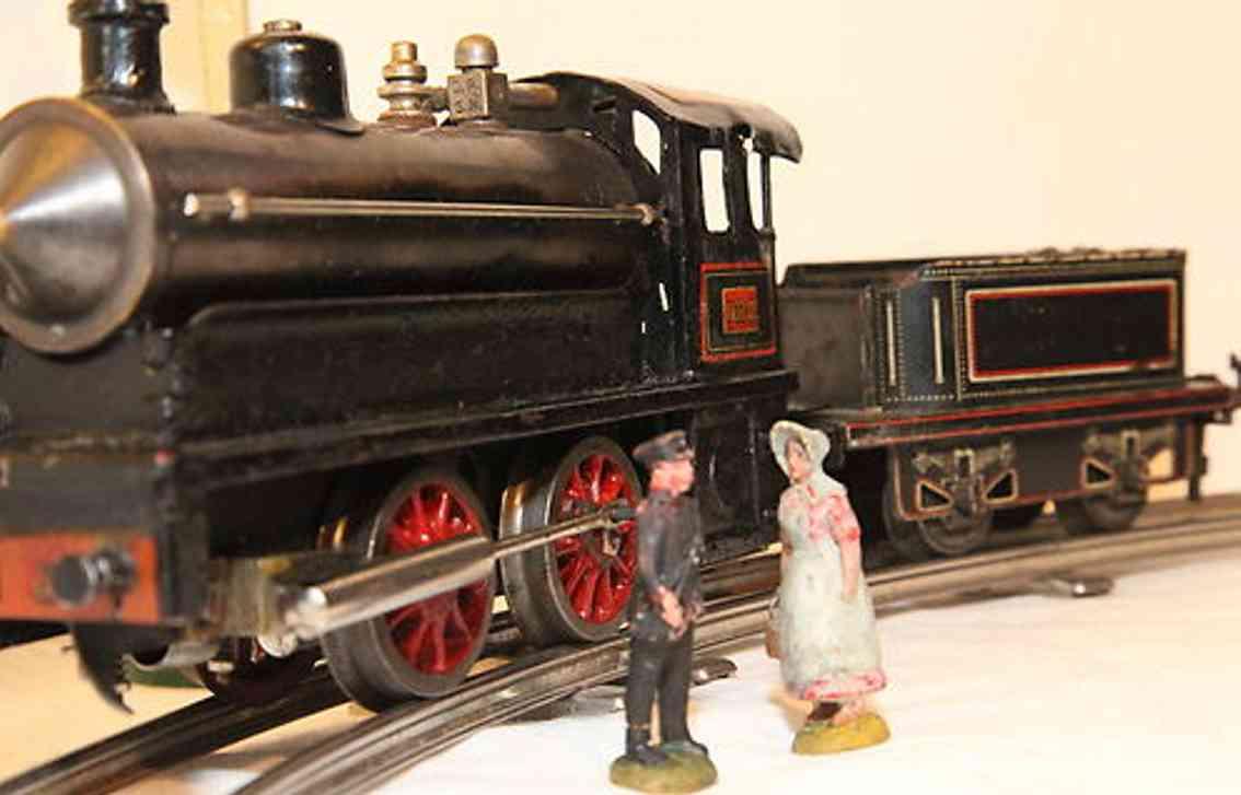 bing spielzeug eisenbahn lokomotive spirituslkomotive mit tender; aufschrift 1132-d