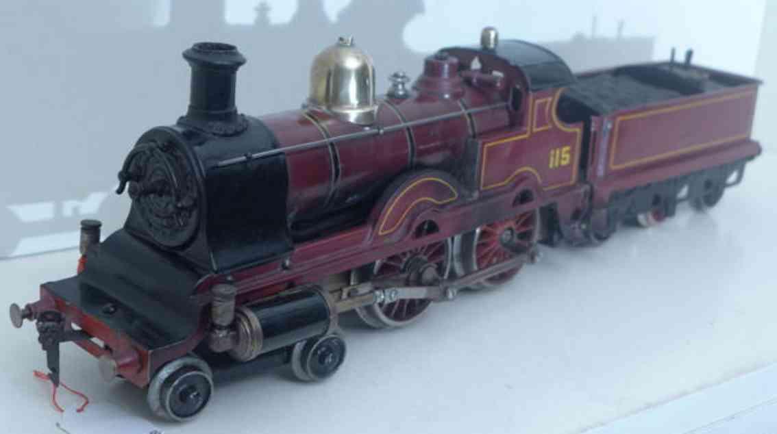 bing spielzeug eisenbahn englische spiritus-dampflokomotive mit tender spur 1