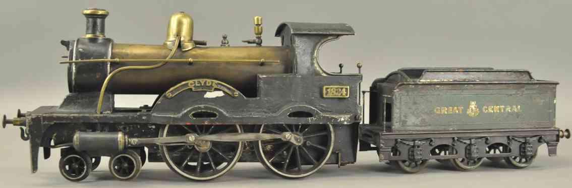bing 33593/3 clyde spielzeug eisenbahn spiritus-dampflokomotive schwarze spur 3