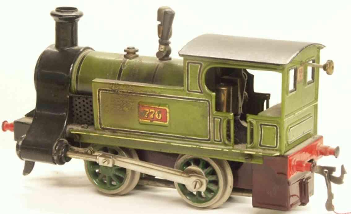 bing 13762 spielzeug eisenbahn spiritusdampflokomotive gruen schwarz spur 1