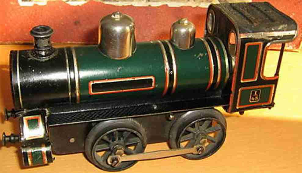 bing 13925/1 spielzeug eisenbahn uhrwerk-dampflokomotive gruen schwarz spur 1