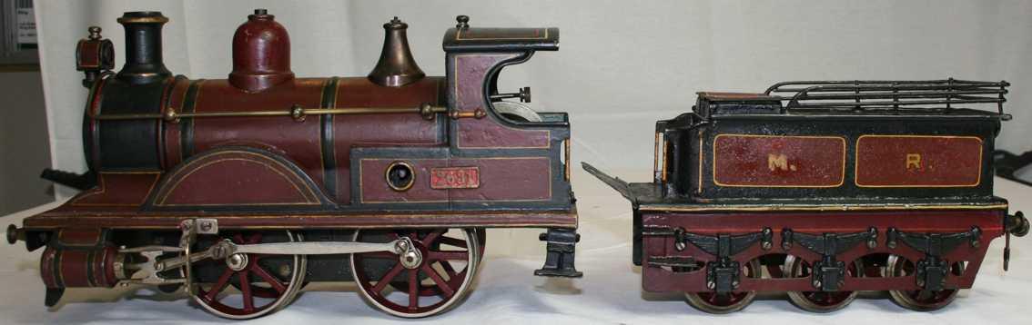 bing 17592/3 railway toy engine clockwork steam locomotive maroon black gauge 3
