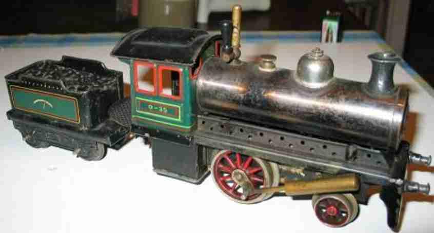 bing 160/569 spielzeug eisenbahn spiritus-dampflokomotive gruen schwarz spur 0
