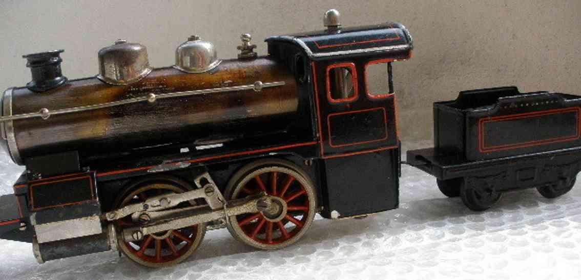 bing 160/585 spielzeug eisenbahn spiritusdampflokomotive gruen schwarz spur 0