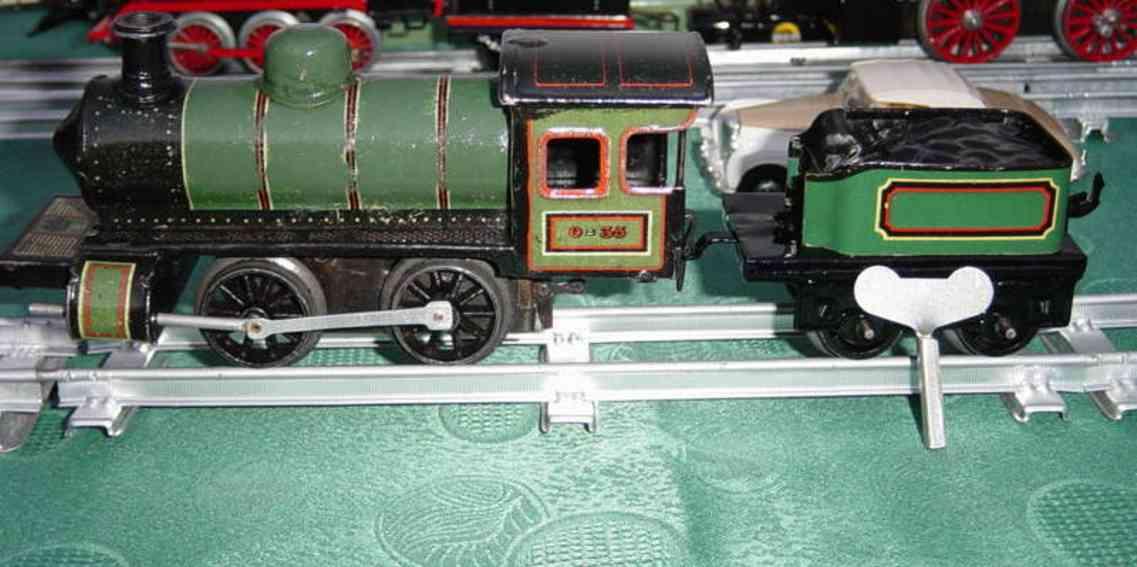 bing 170/1567 spielzeug eisenbahn uhrwerk-dampflokomotive gruen schwarz spur 0