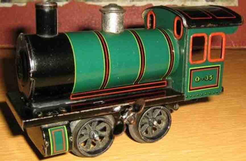 bing 170/3520 spielzeug eisenbahn uhrwerklokomotive gruen schwarz spur 0
