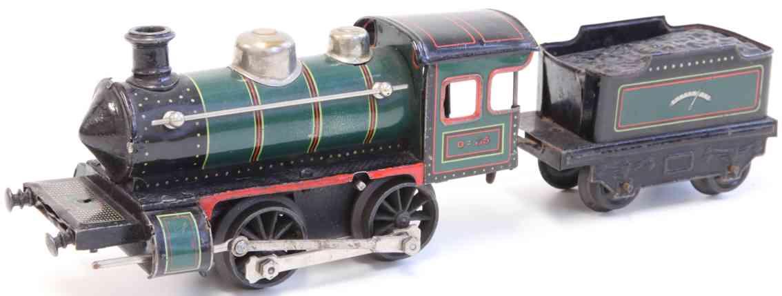 bing 170/3529 railway toy engine clockwork locomotive tender green black gauge 0