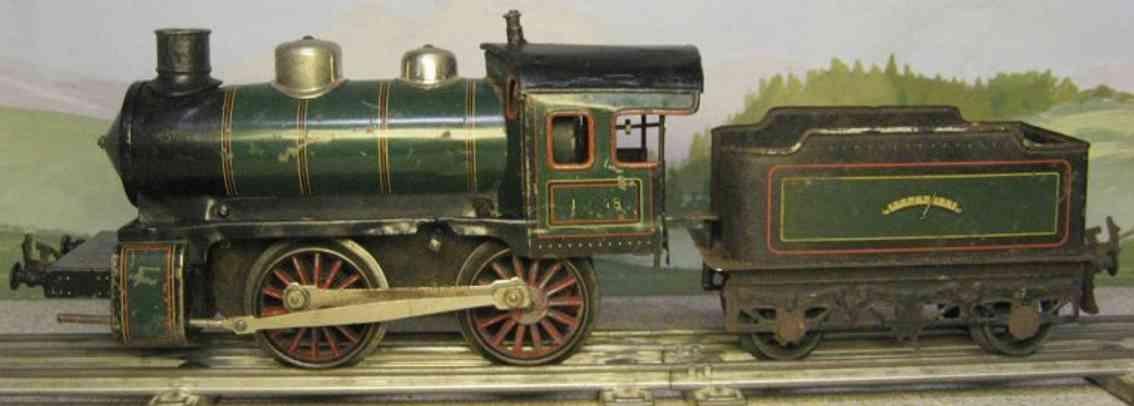 bing 171/2575 eisenbahn uhrwerk-dampflokomotive tender gruen schwarz spur 1