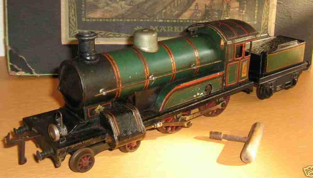 bing 171/2593 eisenbahn uhrwerk-dampflokomotive gruen schwarz spur 1